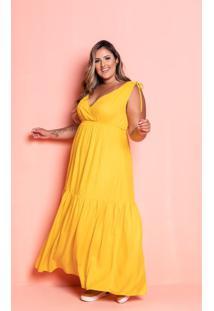 Vestido Longo Mel Amarelo Plus Size Maria Rosa