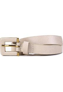 Cinto Couro Shoestock Textura Fivela Larga Feminino - Feminino-Nude