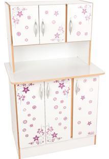 Armário Para Cozinha Creches- Branco & Rosa Escuro- Carlu