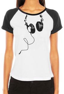 Camiseta Raglan Criativa Urbana Fones Nerd Geek Engraçadas Divertidas - Feminino-Branco