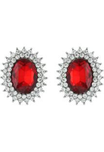 Brinco Pedraria Liage Camafeu Pedra Strass Cristal Vermelho Incolor Prata