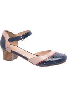 68d36a83f Privalia. Sapato Bico Arredondado Tradicional Vazado Com Salto Feminino Azul  Marinho Nude Rubi Couro Epos Publish Fivela Recorte ...