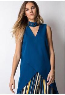Blusa Lança Perfume Alongada Assimétrica Feminina - Feminino-Azul