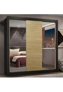 Guarda-Roupa Casal Madesa Lyon Plus 3 Portas De Correr Com Espelhos 4 Gavetas - Preto/Carvalho Marrom - Marrom - Dafiti