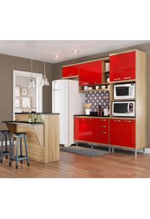 Cozinha Compacta Com Tampo 12 Portas 5844 Argila/Vermelho - Multimóveis