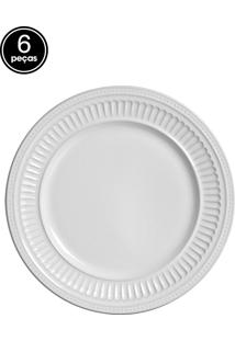Conjunto 6 Pratos Sobremesa Em Poppy Branco Scalla