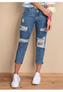 Calça Jeans Claro Com Rasgados E Bolsos Funcionais
