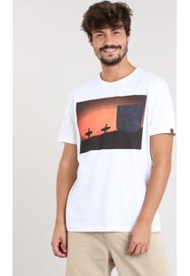 Camiseta Masculina Surfistas Com Bolso Manga Curta Gola Careca Branca