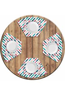 Jogo Americano Love Decor Para Mesa Redonda Wevans Riscos Colorido Kit Com 4 Pçs