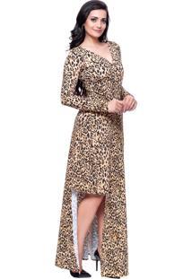 Vestido Longo Gisele Santana Animal Print Onã§A - Bege - Feminino - Poliamida - Dafiti