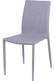 Cadeira Glam Em Linho - Cinza Claro
