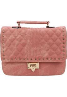 Bolsa Envelope Com Costura Matelass㪠Nude Rosa