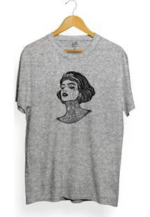 Camiseta Long Beach Girl Tattoo - Masculino-Cinza