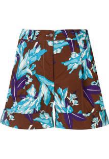 P.A.R.O.S.H. Short Com Estampa Floral - Marrom