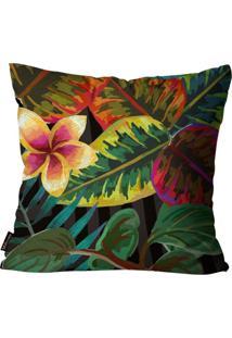 Capa Para Almofada Premium Peluciada Mdecore Floral Colorido 45X45Cm Preto