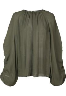 Rochas Ruched Sleeve Blouse - Verde