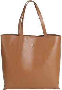 Bolsa Capodarte Tote - Shopper Monograma Plaquinha Feminina - Feminino-Marrom
