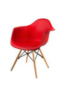Cadeira Arm Com Braco Vermelho Fosco Base Madeira Clara - 51957 Preto