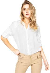 Camisa Manga Longa Anany Bordado Drapeado Branca