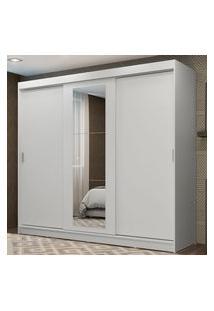 Guarda-Roupa Casal Madesa Kansas 3 Portas De Correr Com Espelho 3 Gavetas Branco Cor:Branco