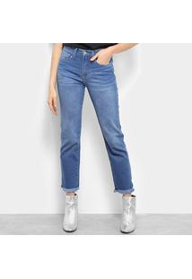 Calça Jeans Calvin Klein Five Pock Mid Rise Straight Feminino - Feminino-Azul