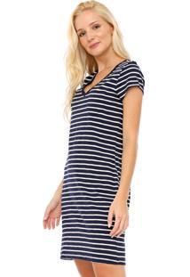 Vestido Gap Curto Listrado Azul-Marinho/Branca