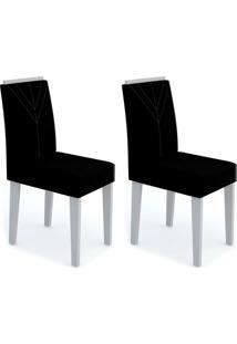 Conjunto Com 2 Cadeiras Amanda Ii Off White E Preto