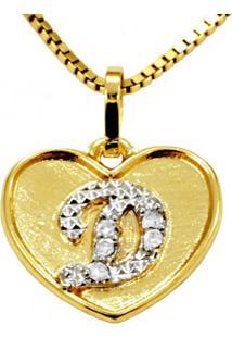 Pingente Em Ouro 18K Coração Com Letra D Com 5 Diamantes - Pg20103