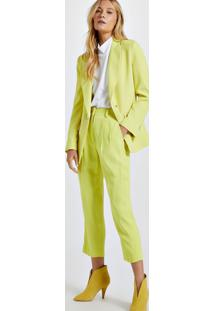 Blazer De Alfaiataria Amarelo Com Botões De Argola Amarelo Neon
