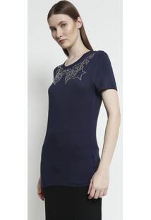 Camiseta Com Termocolantes Aplicados - Azul Marinho & Prversace Collection