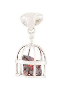 E.M. Brinco Único 'Caged' De Prata E Cristal - Metálico