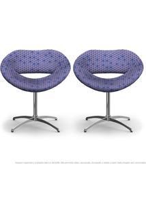 Kit 2 Cadeiras Beijo Colmeia Lilás E Rosa Poltrona Decorativa Com Base Giratória