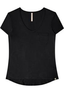 Camiseta Manga Curta Básica Bolso Lunender Feminina - Feminino-Preto