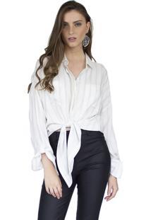 Camisa The Style Box Mullet Com Amarração - Off White