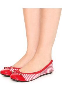Sapatilha Moleca Elástica Vermelha/Branca