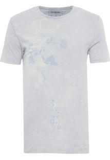 Camiseta Masculina Flor Marmorizado - Cinza