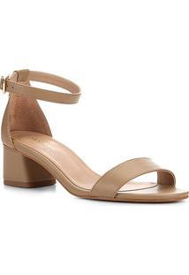 Sandália Shoestock Salto Médio Naked Feminina - Feminino-Amendoa