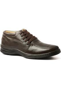 Botinha Casual Masculina 972902 Extra Comfort Ultraleve Chocolate Em Couro Legítimo Doctor Shoes - Masculino-Marrom