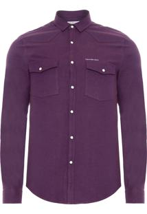 Camisa Masculina Ckj Flanelada - Roxo