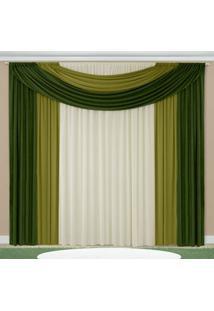 Cortina Ester Casa Dona 200X170 Verde Musgo