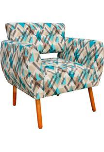 Poltrona Decorativa Josy Traçados Azul D33 Pés Palito - D'Rossi
