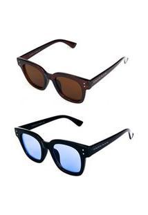 Promoção Kit 2 Óculos De Sol Femininos Prorider Quadrado Marrom E Preto - Kittitania5F
