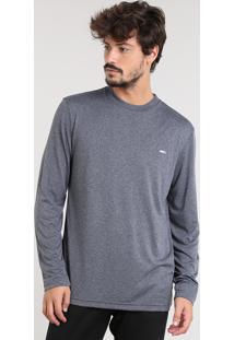 Camiseta Masculina Esportiva Ace Básica Manga Longa Gola Careca Cinza Mescla Escuro