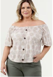 Blusa Feminina Ombro A Ombro Estampada Plus Size Marisa