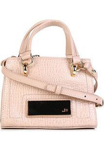 Bolsa Couro Jorge Bischoff Mini Bag Alta Transversal Croco Feminina - Feminino-Rosa Claro