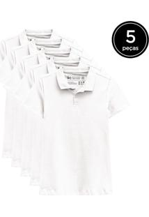 Kit Basicamente. 5 Camisas Polo Branco - Kanui