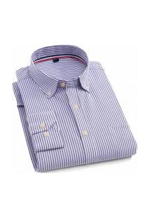 Camisa Social Masculina Nashville - Azul Escuro E Branco