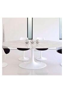 Mesa Jantar Oval Saarinen Mármore Carrara 198X122X73