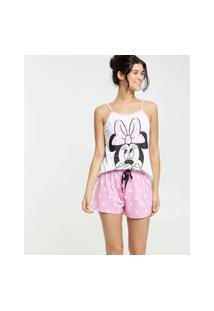 Pijama Feminino Minnie Bolinhas Alças Finas Disney