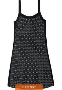 Vestido Preto Geométrico Com Recorte Plus